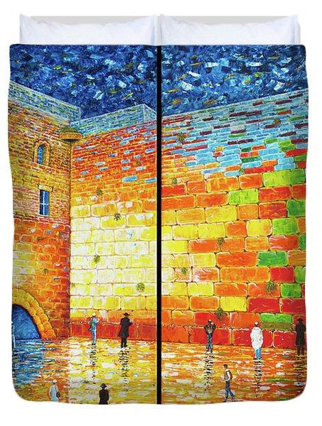 Western Wall Jerusalem Wailing Wall Acrylic Painting 2 Panels Duvet Cover