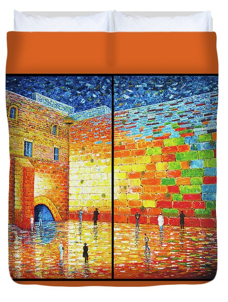 Duvet Cover featuring the painting Western Wall Jerusalem Wailing Wall Acrylic Painting 2 Panels by Georgeta Blanaru