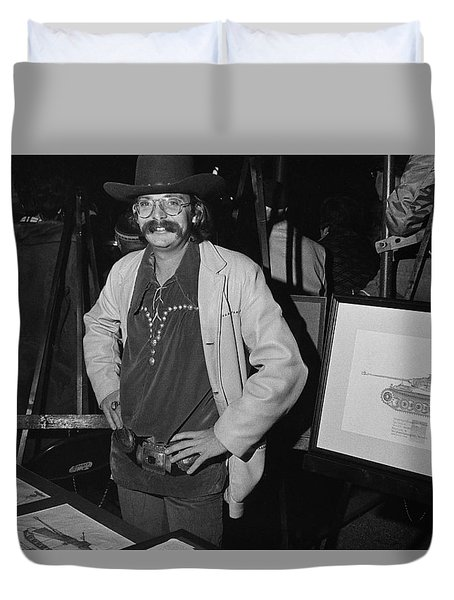 Duvet Cover featuring the photograph Western Wear Garbed Seller Of Nazi Tank Drawings Auction Scottsdale Arizona 1973-2016 by David Lee Guss