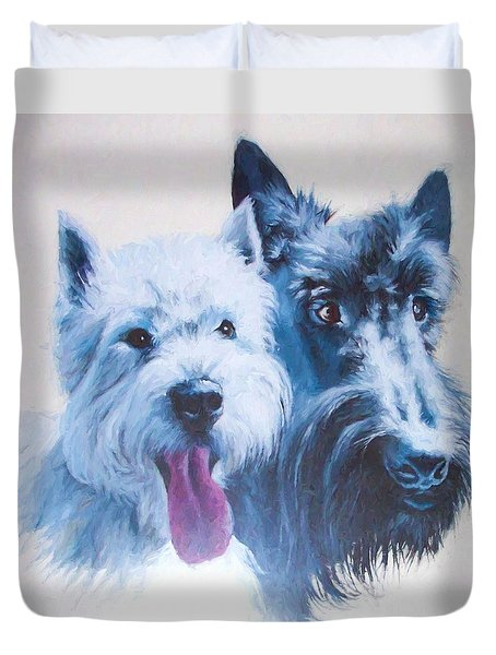 Westie And Scotty Dogs Duvet Cover