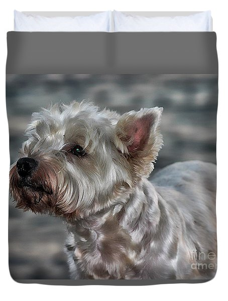 Westie Love Duvet Cover by Clare Bevan