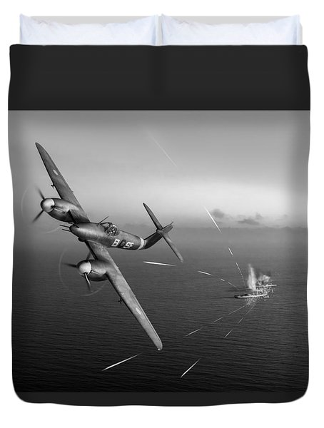 Duvet Cover featuring the photograph Westland Whirlwind Attacking E-boats Black And White Version by Gary Eason