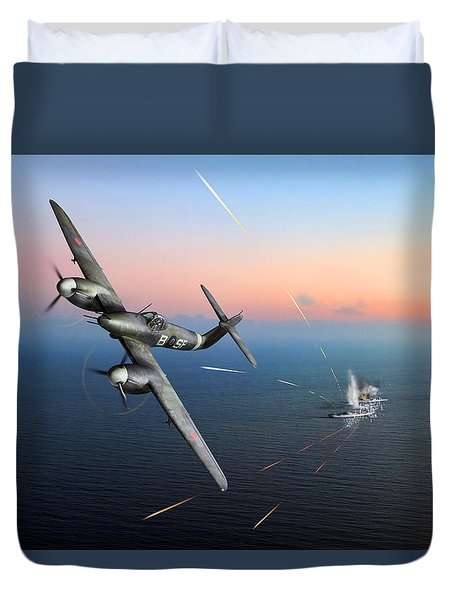Duvet Cover featuring the photograph Westland Whirlwind Attacking E-boats by Gary Eason