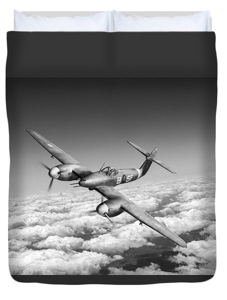 Duvet Cover featuring the photograph Westland Whirlwind Portrait Black And White Version by Gary Eason