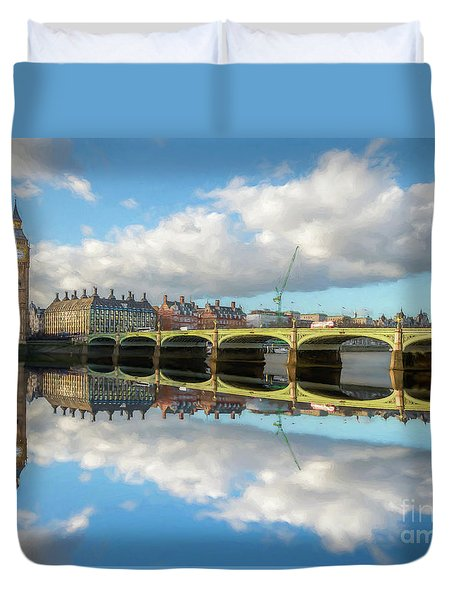 Duvet Cover featuring the photograph Westminster Bridge London by Adrian Evans