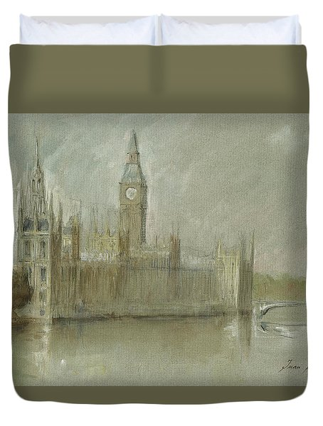 Westminster Palace And Big Ben London Duvet Cover by Juan Bosco