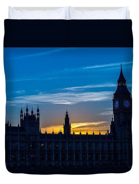 Westminster Parlament In London Golden Hour Duvet Cover