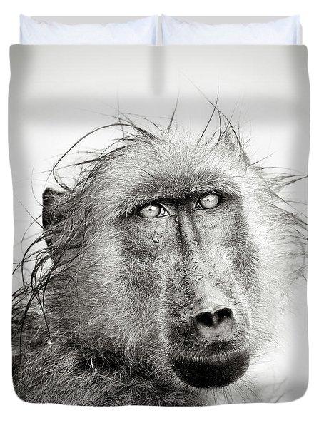 Wet Baboon Portrait Duvet Cover