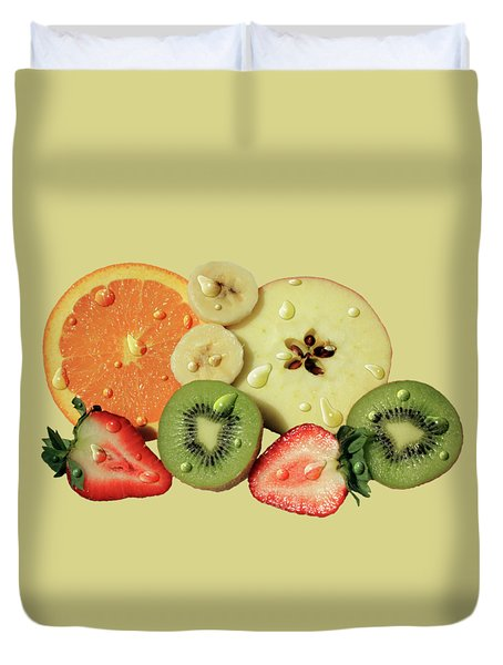 Duvet Cover featuring the photograph Wet Fruit by Shane Bechler