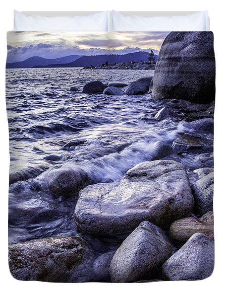 Wet Rocks At Sunset Duvet Cover