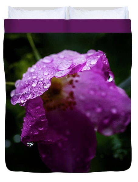 Duvet Cover featuring the photograph Wet Wild Rose by Darcy Michaelchuk