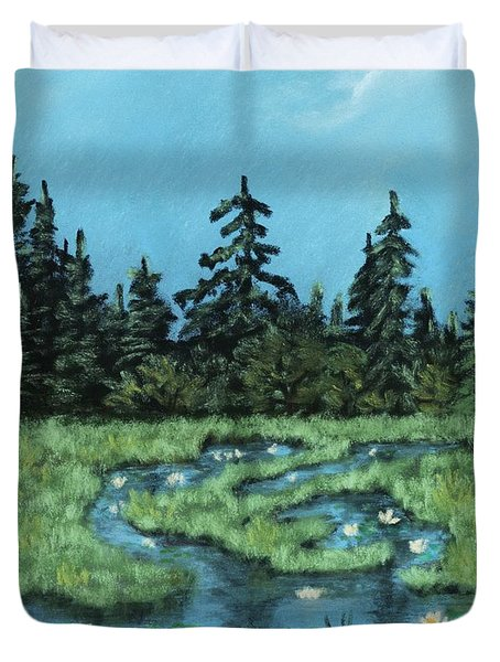 Duvet Cover featuring the painting Wetland - Algonquin Park by Anastasiya Malakhova