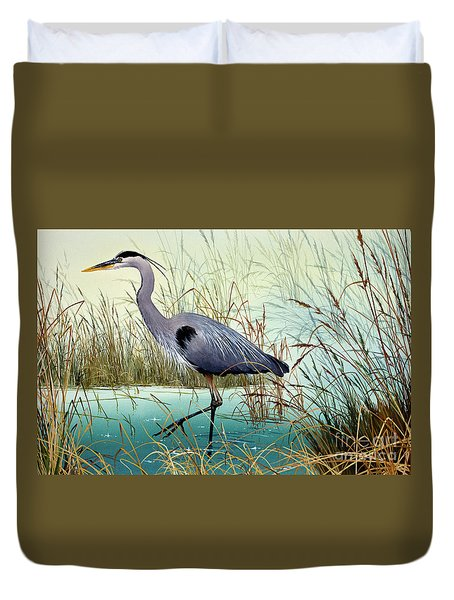 Duvet Cover featuring the painting Wetland Beauty by James Williamson
