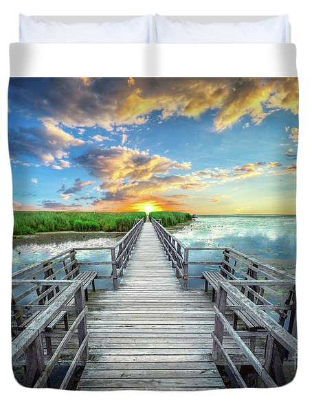 Wetland Marsh Sunrise Treasure Coast Florida Boardwalk A1 Duvet Cover