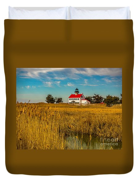 Duvet Cover featuring the photograph Wetlands At East Point Light by Nick Zelinsky