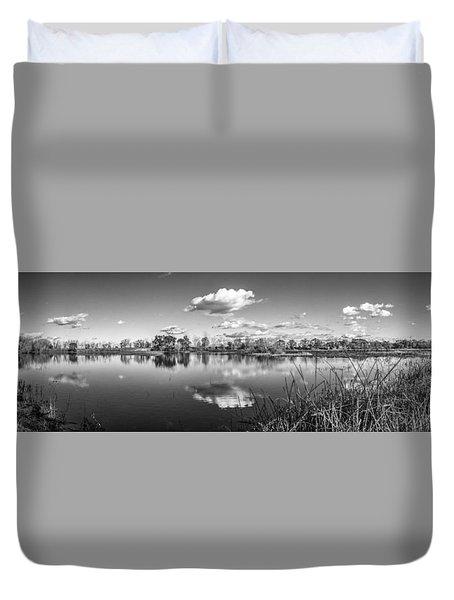 Wetlands Panorama Monochrome Duvet Cover