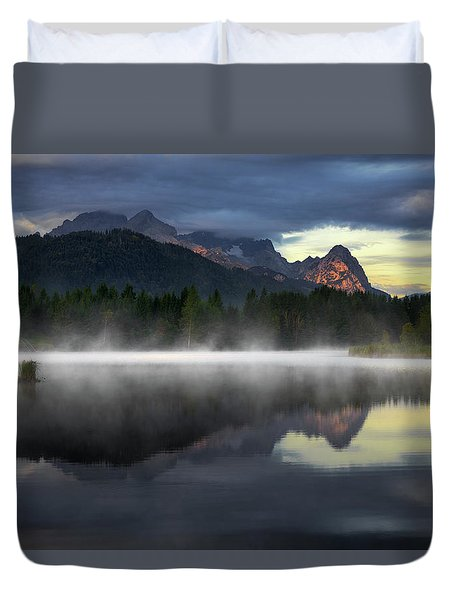 Wetterstein Mountain Reflection During Autumn Day With Morning Fog Over Geroldsee Lake, Bavarian Alps, Bavaria, Germany. Duvet Cover