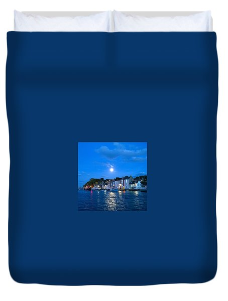 Weymouth Harbour, Full Moon Duvet Cover