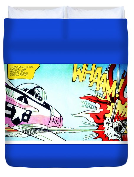 Whaam Duvet Cover by Roy Lichtenstein