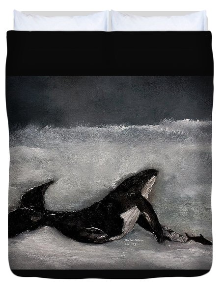 Duvet Cover featuring the painting Whale by Barbie Batson