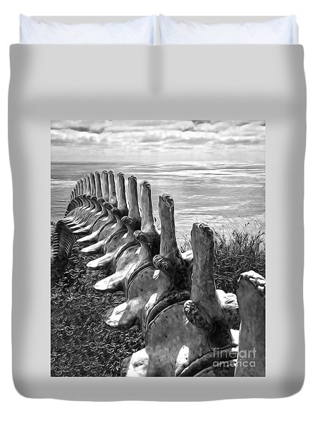 Whale Bones In Black And White Duvet Cover