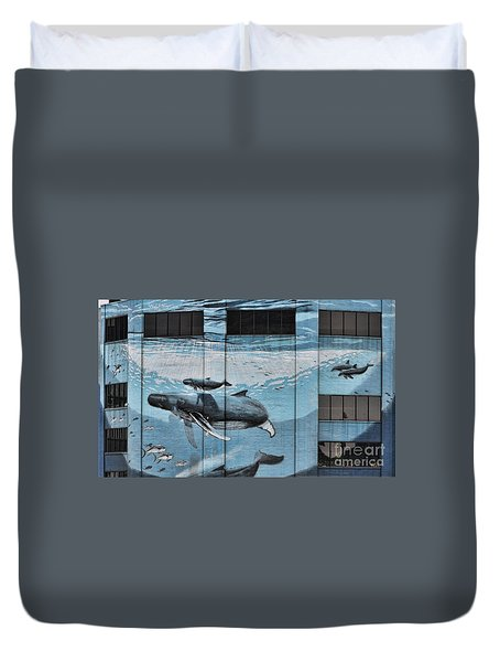 Whale Deco Building  Duvet Cover