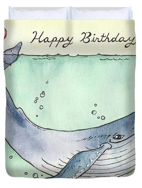 Whale Happy Birthday Card Duvet Cover