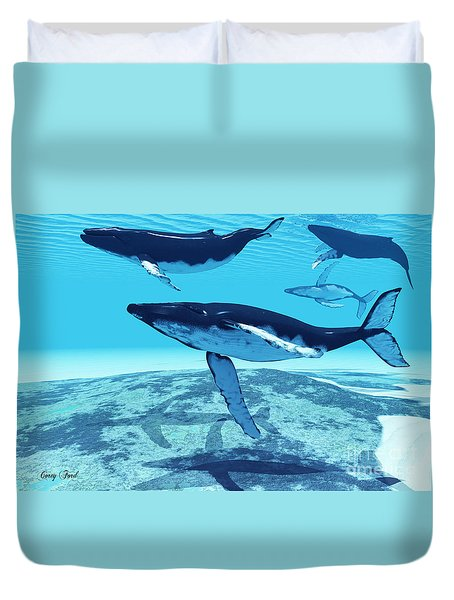 Whale Pod Duvet Cover by Corey Ford