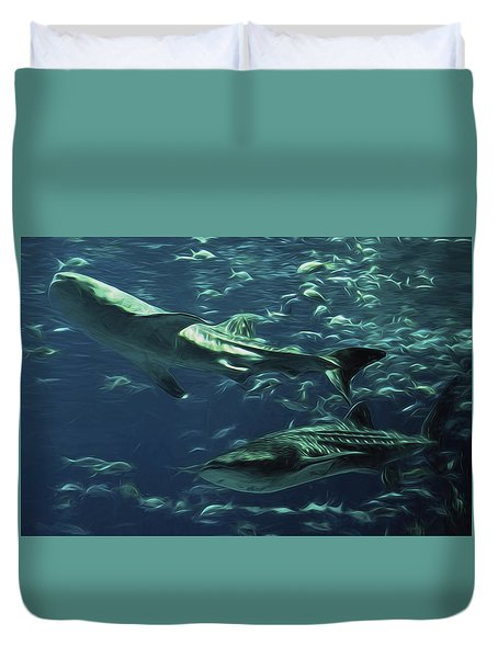 Whale Shark Couple Duvet Cover