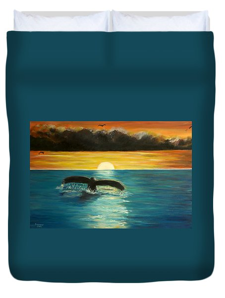 Whale Tail At Sunset  Duvet Cover