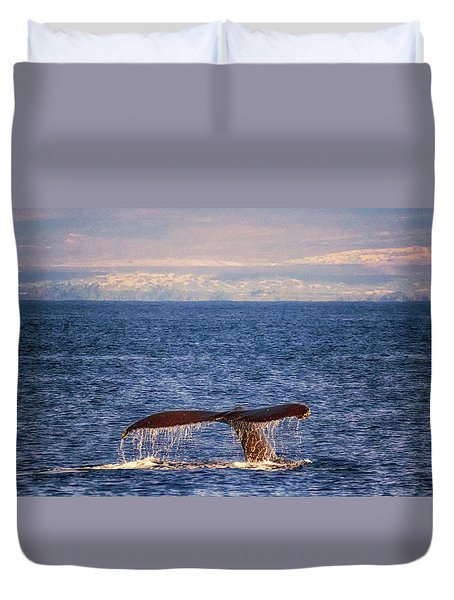 Duvet Cover featuring the photograph Whale Tail by Susan Rissi Tregoning