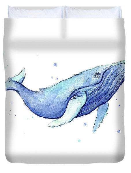 Whale Watercolor Humpback Duvet Cover by Olga Shvartsur