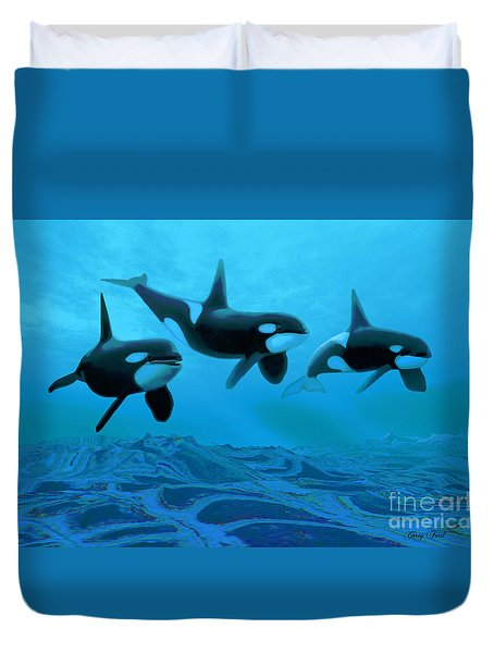 Whale World Duvet Cover by Corey Ford