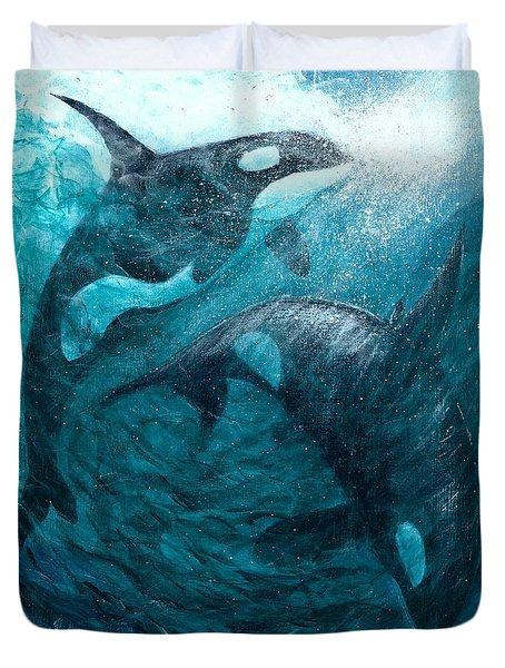 Whales  Ascending  Descending Duvet Cover