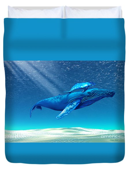 Whales Duvet Cover by Corey Ford