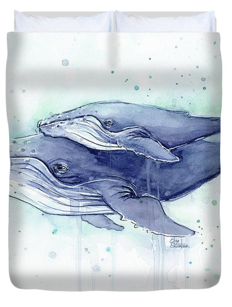 Whales Humpback Watercolor Mom And Baby Duvet Cover by Olga Shvartsur