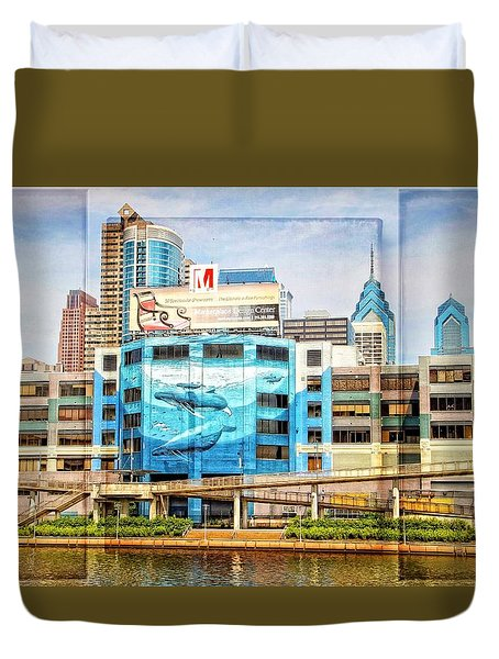 Whales In The City Duvet Cover