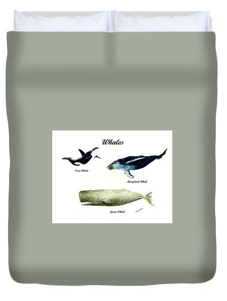 Whales Duvet Cover by Michael Vigliotti