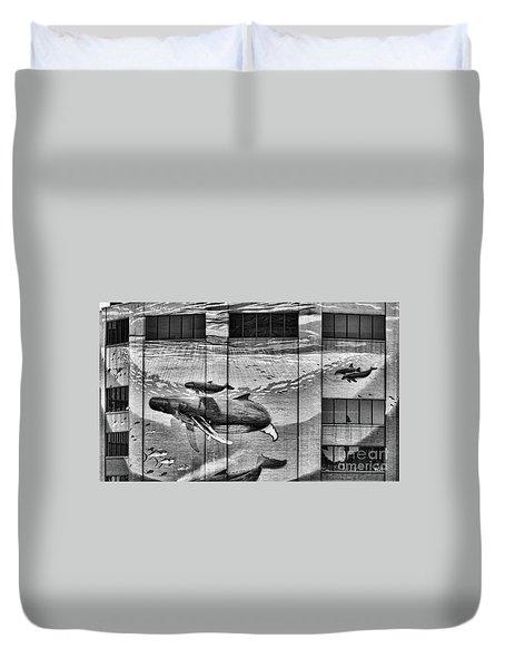 Whales Mural Building Penn Duvet Cover