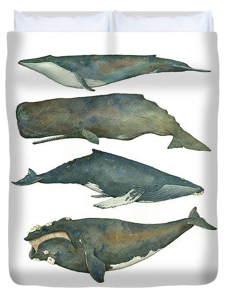 Whales Poster Duvet Cover by Juan Bosco