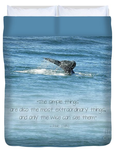 Duvet Cover featuring the photograph Whale's Tail by Peggy Hughes
