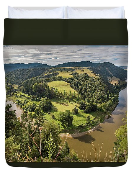 Duvet Cover featuring the photograph Whanganui River Bend by Gary Eason