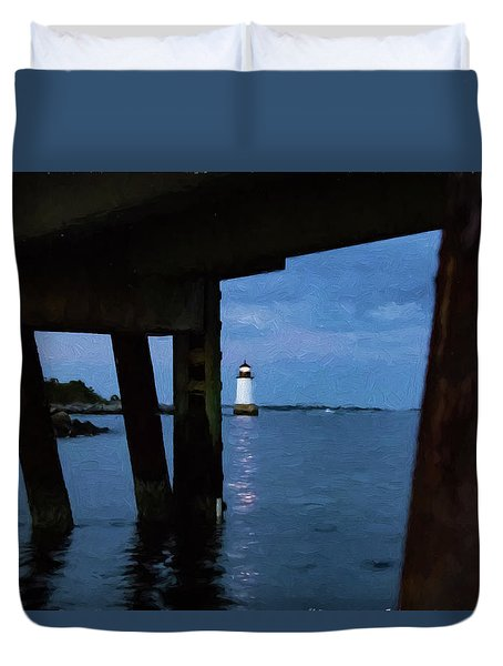 Wharf View Of Salem Lighthouse Duvet Cover