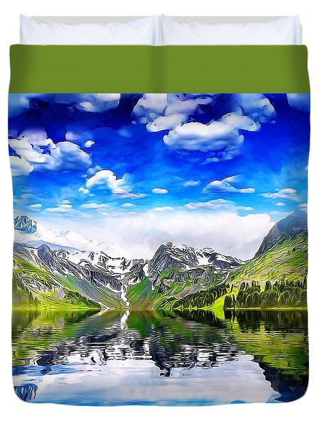 Duvet Cover featuring the mixed media What A Beautiful Day by Gabriella Weninger - David