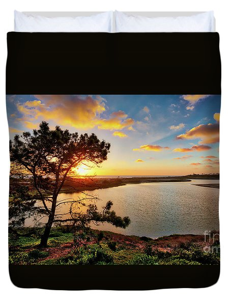 What A Glow At The Batiquitos Lagoon Duvet Cover