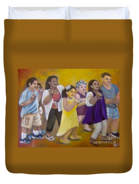 Duvet Cover featuring the painting What America Should Look Like by Saundra Johnson
