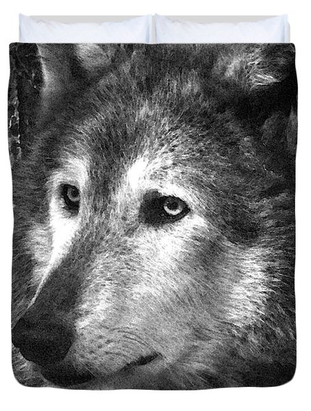 What Is A Wolf Thinking Duvet Cover by Karol Livote
