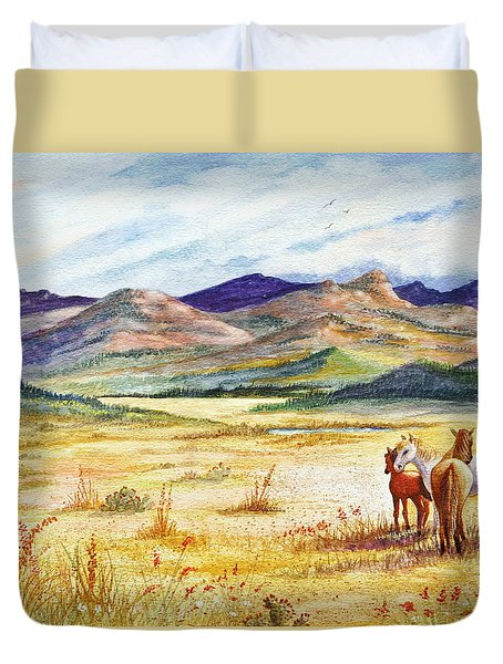Duvet Cover featuring the painting What Lies Beyond by Marilyn Smith
