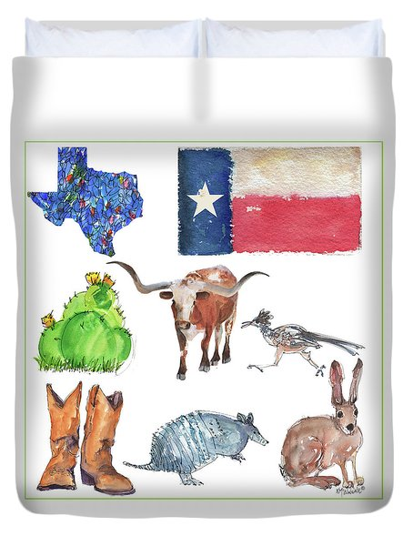 What Texas Loves, Texas Longhorn Watercolor Painting By Kmcelwaine Duvet Cover