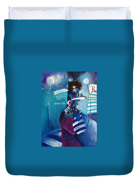 Duvet Cover featuring the painting What Time Is It by Maya Manolova